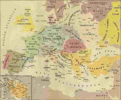 Cartina 1400.Carta Geopol Europa A Fine 1400