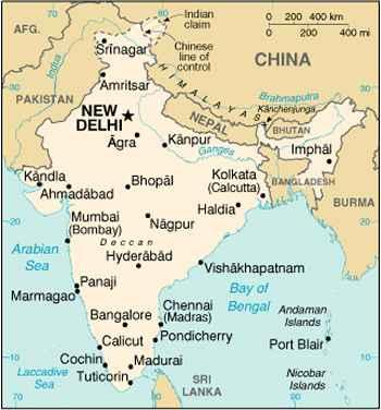 India Cartina Geografica.India Carta Geografica